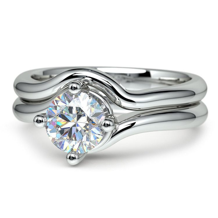White Gold Swirl Diamond Engagement Ring & Wedding Band Set | 04