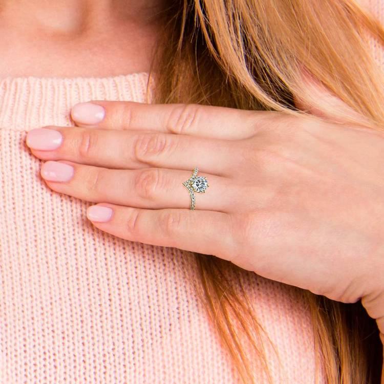 Yellow Gold Chevron Diamond Ring | 06