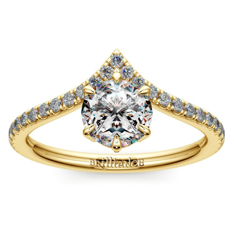 Yellow Gold Chevron Diamond Ring | 01