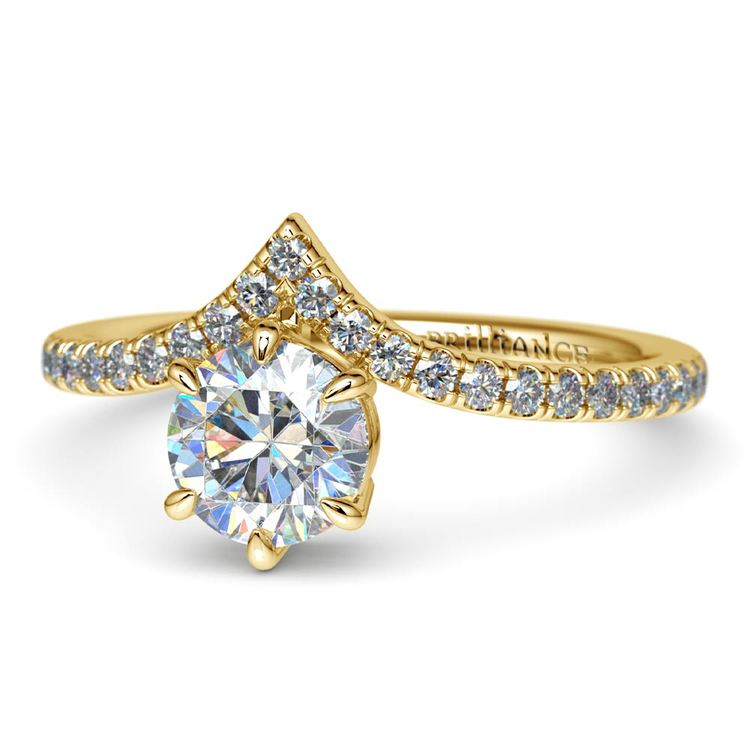 Yellow Gold Chevron Diamond Ring | 04