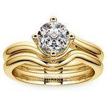Yellow Gold Swirl Diamond Engagement Ring & Wedding Band Set   Thumbnail 01