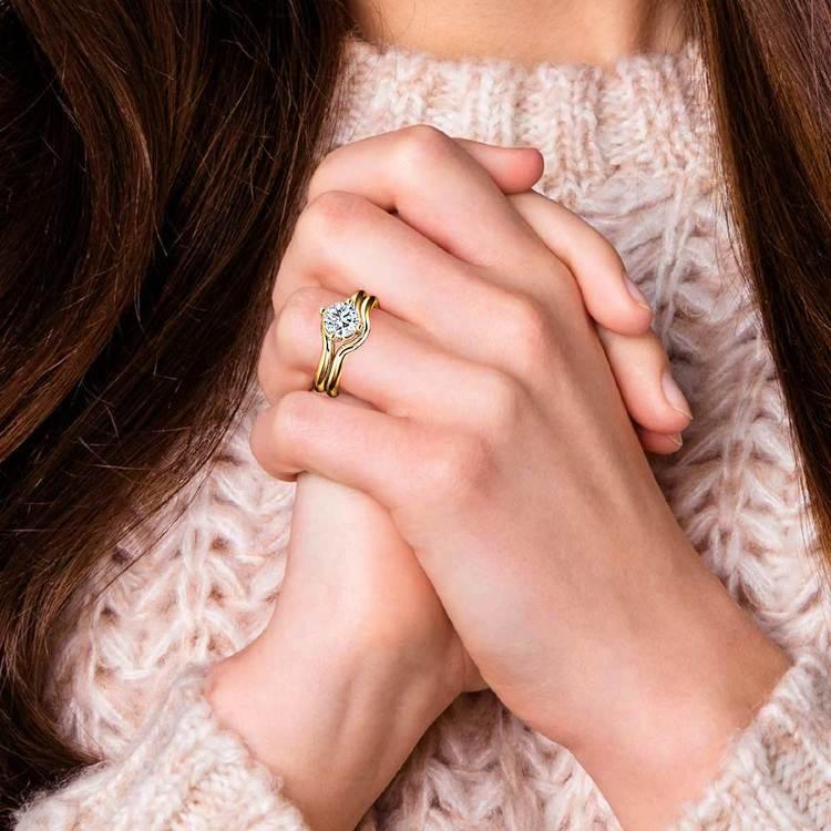 Yellow Gold Swirl Diamond Engagement Ring & Wedding Band Set   07