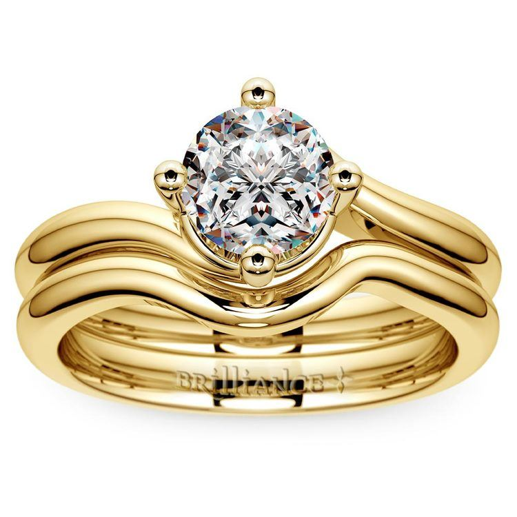 Yellow Gold Swirl Diamond Engagement Ring & Wedding Band Set   01