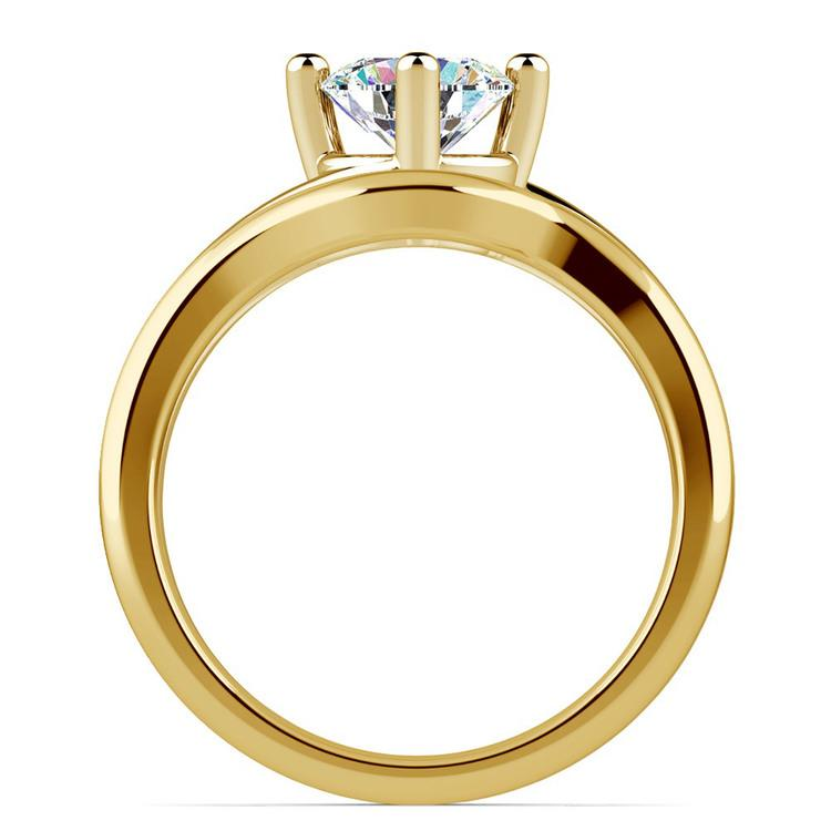 Yellow Gold Swirl Diamond Engagement Ring & Wedding Band Set   02