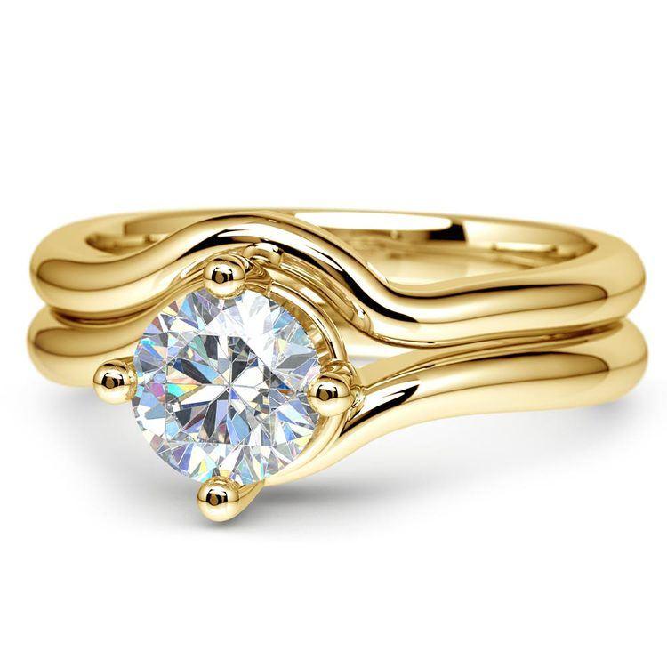 Yellow Gold Swirl Diamond Engagement Ring & Wedding Band Set   04