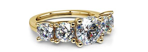 Round Trellis Yellow Gold Moissanite Engagement Ring