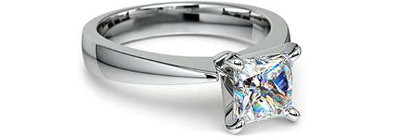 Princess Taper Solitaire White Gold Moissanite Engagement Ring