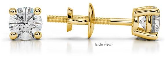 Round Diamond Yellow Gold Single Stud Earring