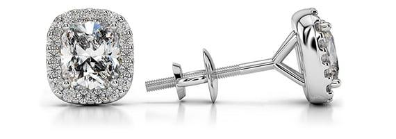 Cushion Halo Platinum Diamond Stud Earrings