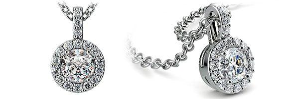 Halo White Gold Diamond Solitaire Pendants
