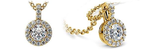 Halo Yellow Gold Diamond Solitaire Pendants