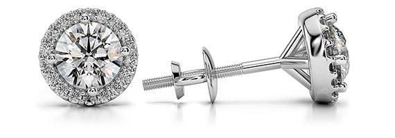Halo Platinum Diamond Stud Earrings