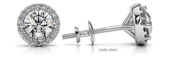 Halo Diamond White Gold Single Stud Earring