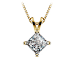 Princess Diamond Solitaire Pendant in Yellow Gold (1 1/2 ctw)  | Thumbnail 01