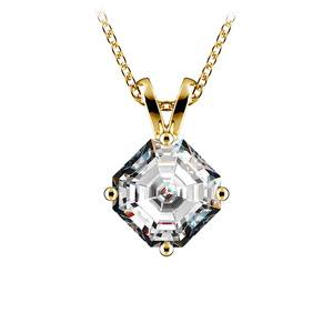 Asscher Diamond Solitaire Pendant in Yellow Gold (1 1/2 ctw)