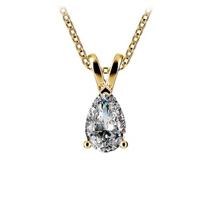Pear Diamond Solitaire Pendant in Yellow Gold (1/2 ctw)
