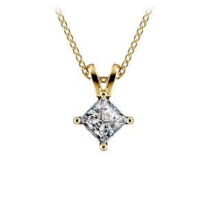Princess Diamond Solitaire Pendant in Yellow Gold (1/2 ctw)