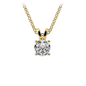 Round Diamond Solitaire Pendant in Yellow Gold (1/2 ctw)