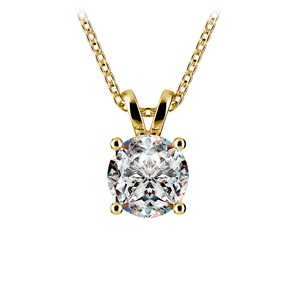 Round Diamond Solitaire Pendant in Yellow Gold (1 1/2 ctw)