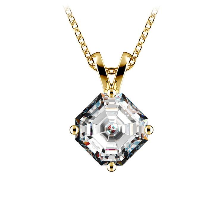 Asscher Diamond Solitaire Pendant in Yellow Gold (1 1/2 ctw)  | 01