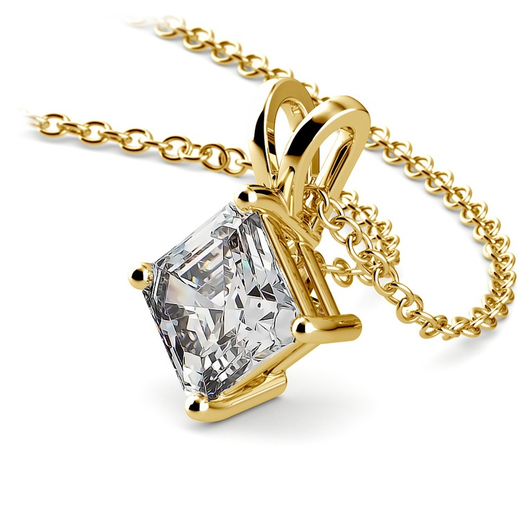 Asscher Diamond Solitaire Pendant in Yellow Gold (1 1/2 ctw)  | 03