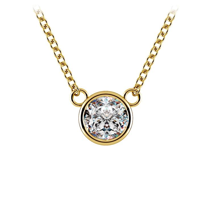 Bezel Diamond Solitaire Pendant in Yellow Gold (1/2 ctw) | 01
