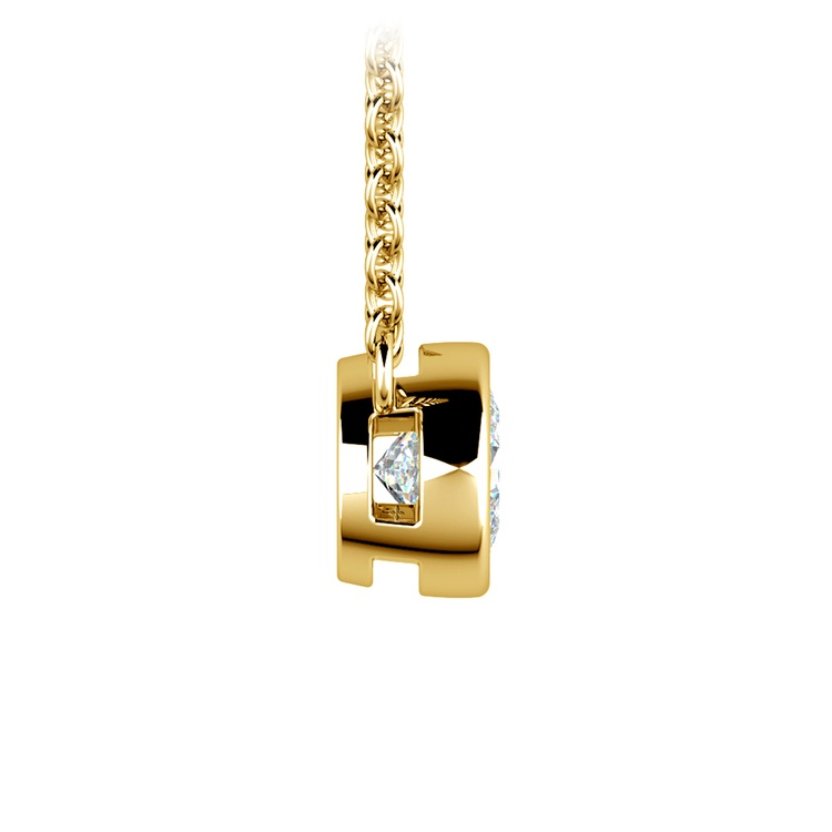 Bezel Diamond Solitaire Pendant in Yellow Gold (1/2 ctw) | 02