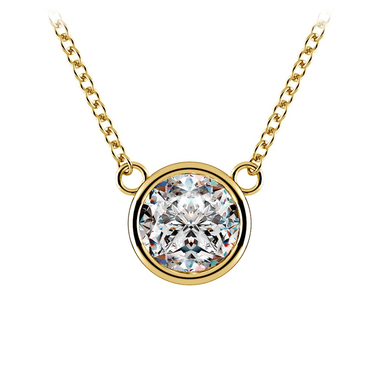 Bezel Diamond Solitaire Pendant in Yellow Gold (1 1/2 ctw) | 01