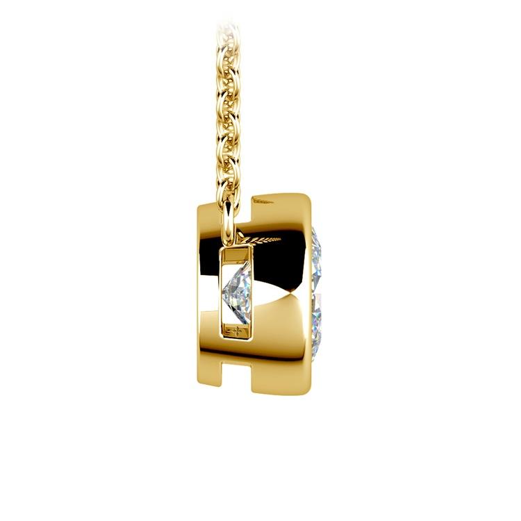 Bezel Diamond Solitaire Pendant in Yellow Gold (1 1/2 ctw) | 02