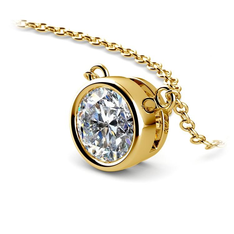 Bezel Diamond Solitaire Pendant in Yellow Gold (1 1/2 ctw) | 03