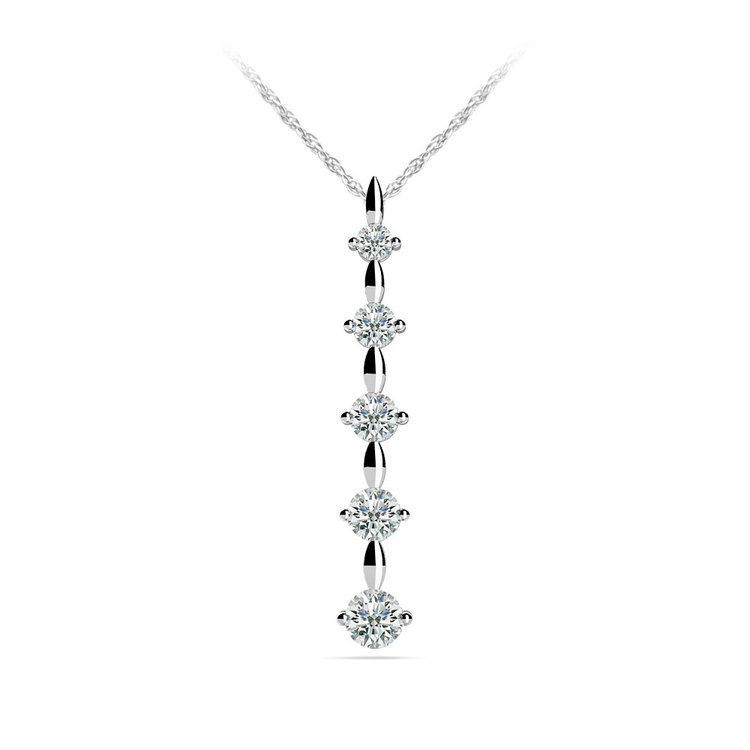 Diamond Drop Pendant in White Gold (1/2 ctw) | 01