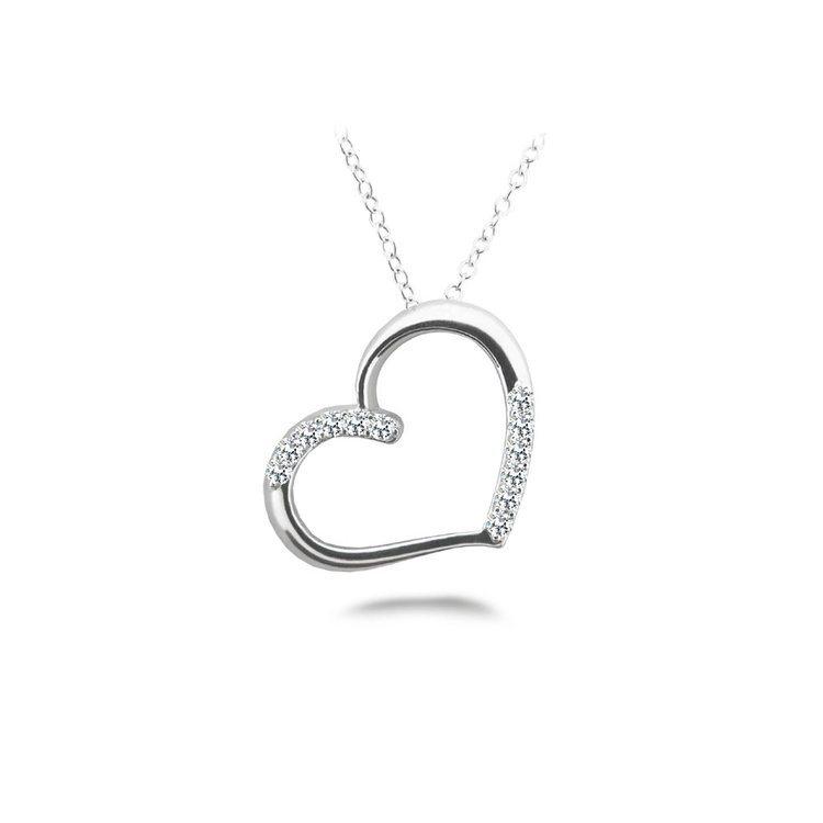 White Gold Diamond Heart Pendant (1/2 ctw) | 01