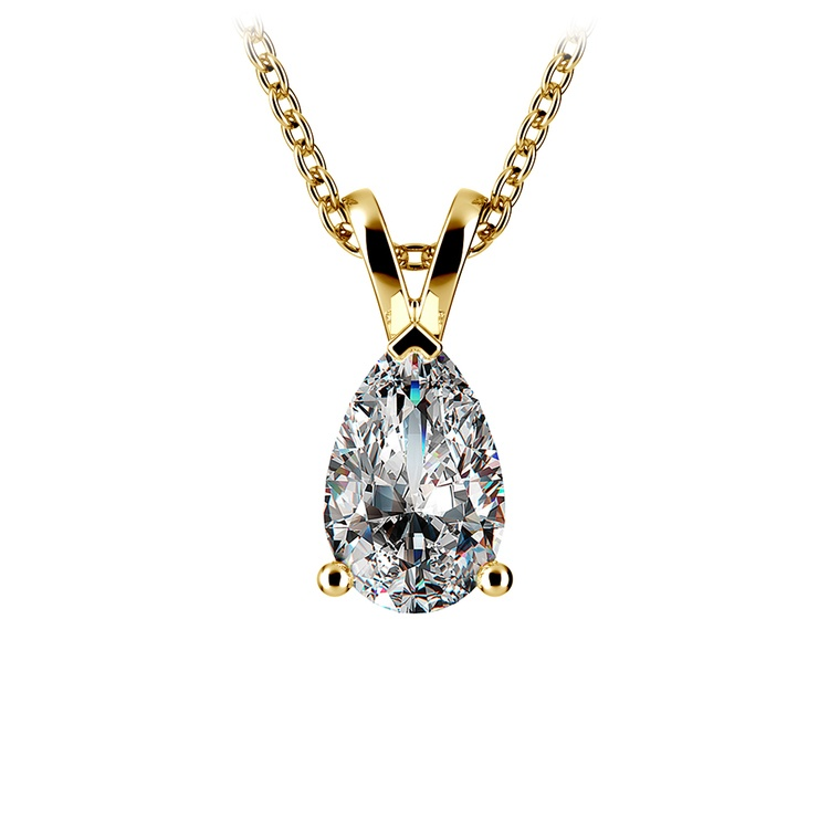 Pear Diamond Solitaire Pendant in Yellow Gold (1 1/2 ctw) | 01