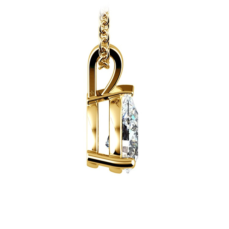 Pear Diamond Solitaire Pendant in Yellow Gold (1 1/2 ctw) | 02