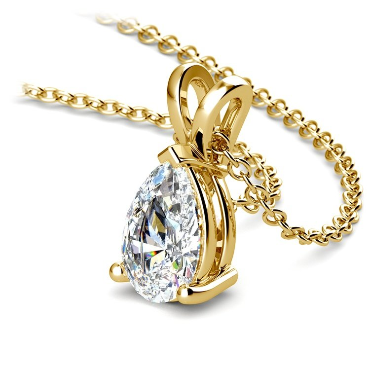 Pear Diamond Solitaire Pendant in Yellow Gold (1 1/2 ctw) | 03