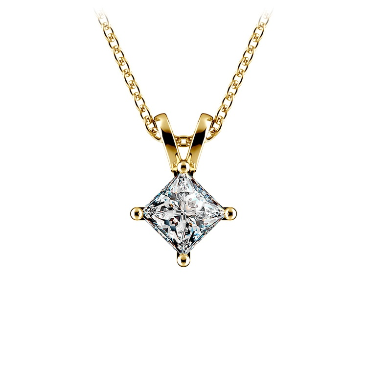 Princess Diamond Solitaire Pendant in Yellow Gold (1/2 ctw)  | 01