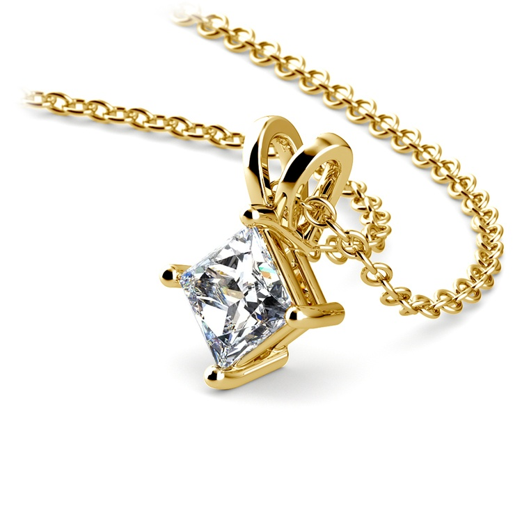 Princess Diamond Solitaire Pendant in Yellow Gold (1/2 ctw)  | 03