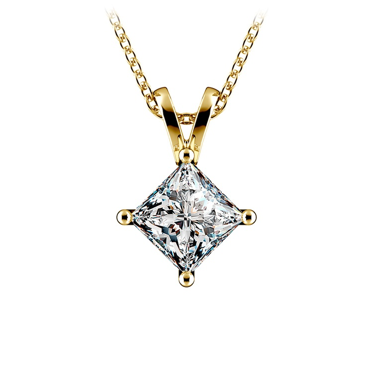Princess Diamond Solitaire Pendant in Yellow Gold (1 1/2 ctw)  | 01
