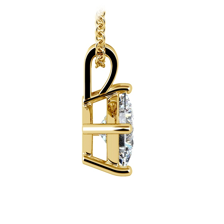 Princess Diamond Solitaire Pendant in Yellow Gold (1 1/2 ctw)  | 02