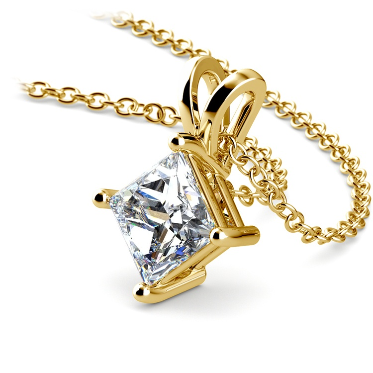 Princess Diamond Solitaire Pendant in Yellow Gold (1 1/2 ctw)  | 03