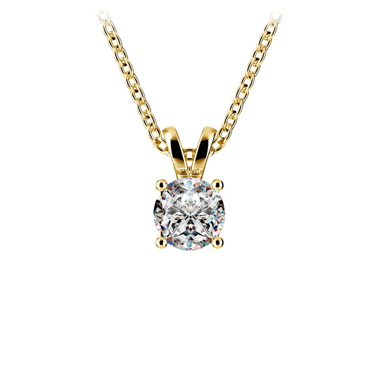 Round Diamond Solitaire Pendant in Yellow Gold (1/2 ctw) | 01