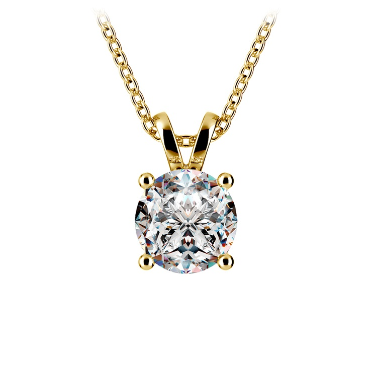 Round Diamond Solitaire Pendant in Yellow Gold (1 1/2 ctw) | 01