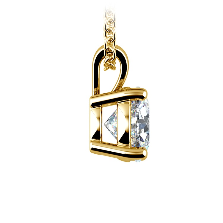 Round Diamond Solitaire Pendant in Yellow Gold (1 1/2 ctw) | 02