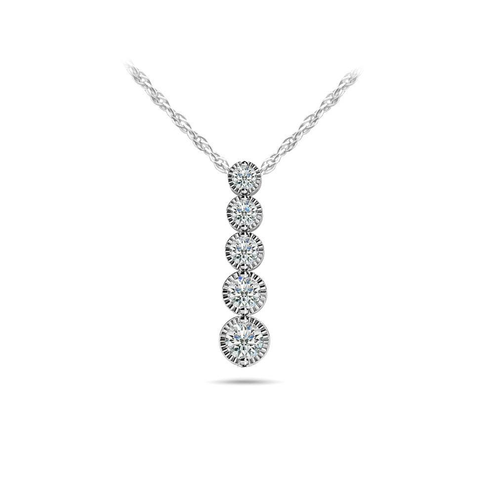 Milgrain Diamond Drop Pendant In White Gold 1 2 Ctw