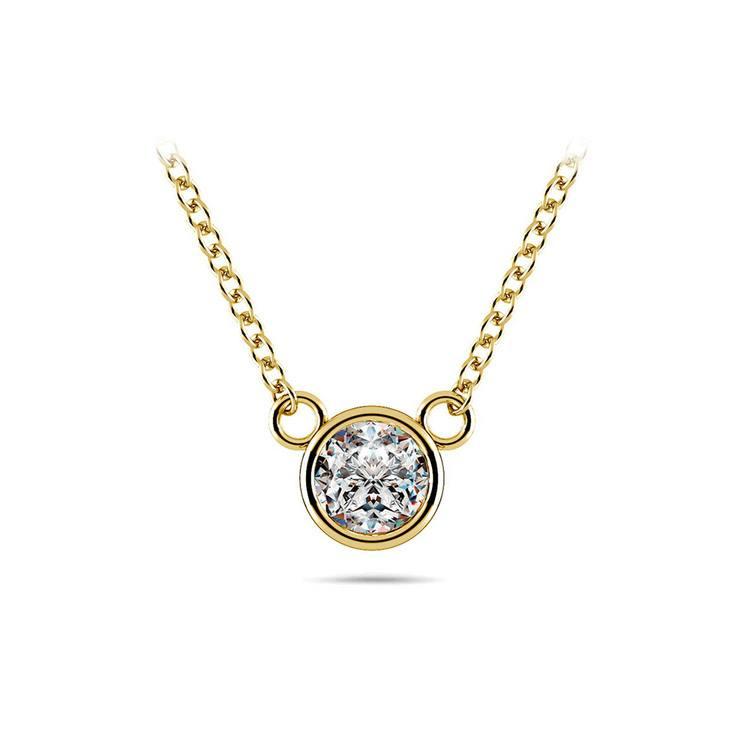 Bezel Diamond Pendant In Yellow Gold (1/3 Ctw) | 01