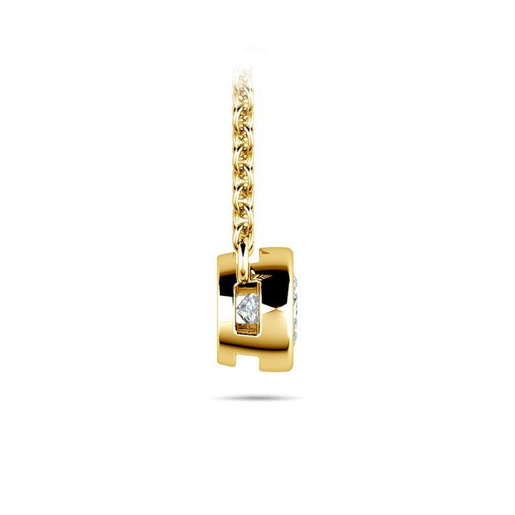 Bezel Diamond Pendant In Yellow Gold (1/3 Ctw) | 02