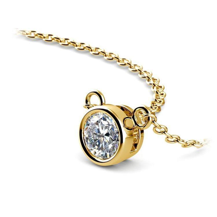 Bezel Diamond Pendant In Yellow Gold (1/3 Ctw) | 03