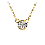 Bezel Diamond Solitaire Pendant in Yellow Gold (1/3 ctw) | Thumbnail 01
