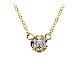 Bezel Diamond Solitaire Pendant in Yellow Gold (1/3 ctw)