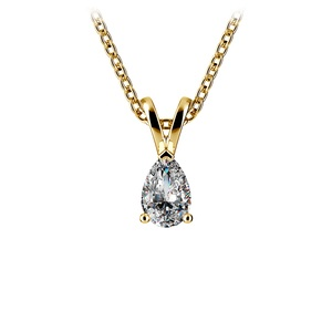 Pear Diamond Solitaire Pendant in Yellow Gold (1/3 ctw)